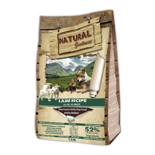 Natural Greatness teraviljavaba koerte kuivtoit Lamb Recipe