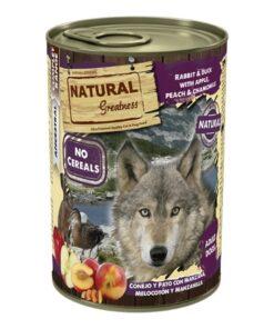 Natural Greatness teraviljavaba konserv koertele JÄNES & PART õuna, virsiku ja kummeliga