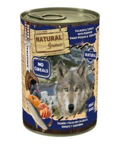 Natural Greatness teraviljavaba konserv koertele LÕHE & KALKUN kõrvitsa bataadi ja kurkumiga