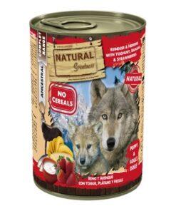 Natural Greatness teraviljavaba konserv koertele PÕHJAPÕDER ja HEERINGAS jogurti, banaani ja maasikatega